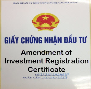 Change of investment registration certificate